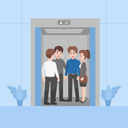 People in business outfits not have social distancing talk close and crowding risk to infected coronavirus standing in Elevator going to work, Health care concept. Illustration