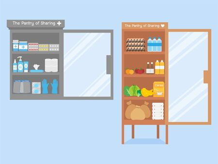 Give hand Charity medicine cabinet and food collection for Sharing helping each other concept Pantry of sharing campaign lack of Food due to Coronavirus crisis Donation food to other people. Illustration