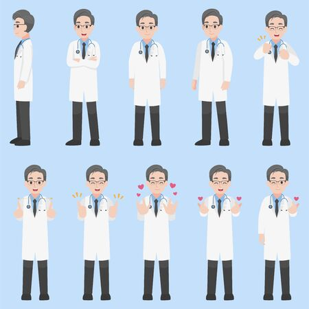 Set of Doctors Character design in various action with emotions Cartoon flat  Health care concept.
