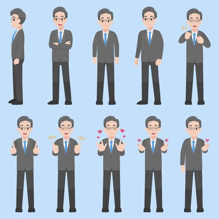 Set of Adult Business Character design in various action with emotions Cartoon flat  concept.