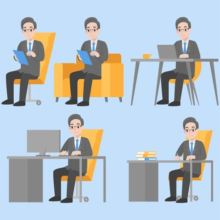 Set of businessman working with laptop happy and smile in office, sitting on table,Character design in various action with emotions Cartoon flat  Health care concept.