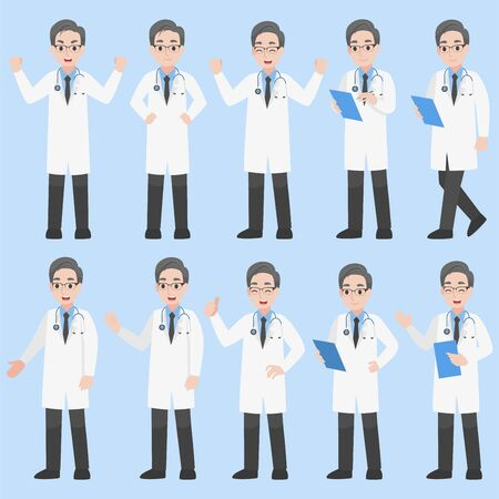 Set of Doctors Character design in various action Cartoon flat  Health care concept.