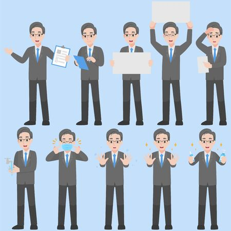 Set of Businessman Character design in various action for prevent coronavirus Cartoon flat Health care concept.