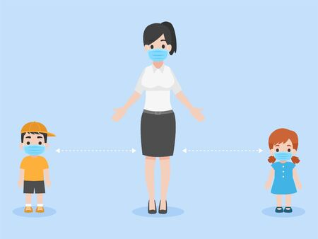 Children and teacher in new normal life wearing a surgical protective Medical mask for preventcoronavirus, Health care concept. Illustration