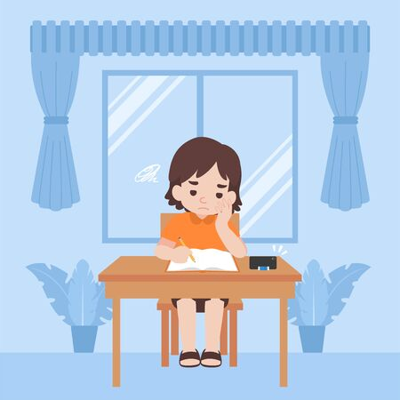 Children in new normal life learns lessons distance education at home self learning for prevent coronavirus feeling sleepy, Distance Learning concept.