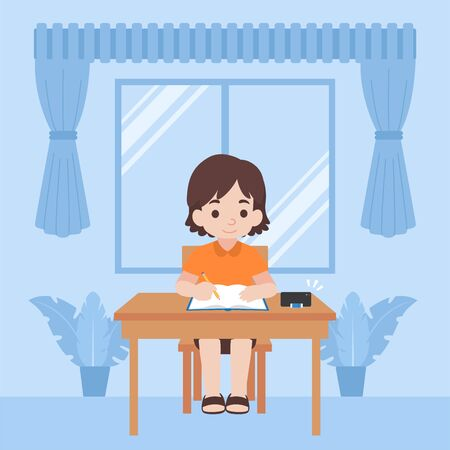 Children in new normal life learns lessons distance education at home self learning for prevent coronavirus, Distance Learning concept. Illustration