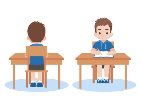 Boy back and front studying lessons distance education at home self learning for prevent coronavirus, Distance Learning Television concept.