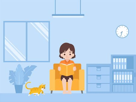 Children Reading a book in new normal life learns lessons distance education at home self learning for prevent coronavirus, Distance Learning concept. Illustration