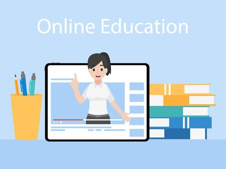 Online Teacher on Tablet monitor teaching education lesson with video tutorial on video blog social media webinar training, Distance Learning Television concept. Vettoriali