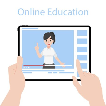 Online Teacher on Tablet monitor teaching education lesson with video tutorial on video blog social media webinar training, Distance Learning Television concept. Illustration