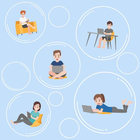 Set of people floating inside the bubble communicate and isolated form another keep social distance for prevent coronavirus, Health care concept. Illustration