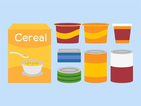 Donations Sharing campaign canned food and Cereal Illustration