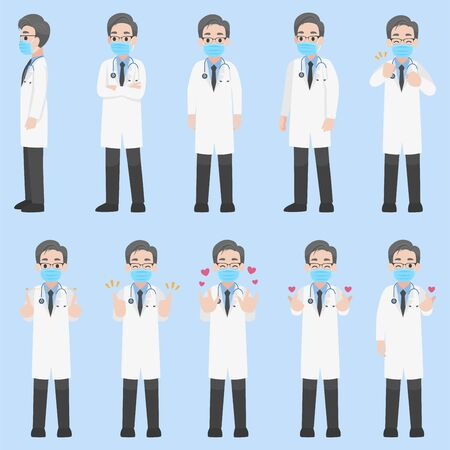 Set of Doctors Character wearing protective Medical mask for prevent Corona Virus, people wearing a surgical mask. Health care concept. character pose front side turn around. Illustration