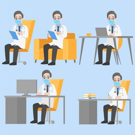 Set of Doctors Character wearing protective Medical mask for prevent Corona Virus working with laptop happy and smile in hospital, sitting on table, Health care concept.