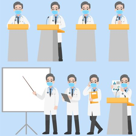 Set of Adult Business  Character wearing protective Medical mask for prevent Corona Virus design in various action with emotions Cartoon flat concept.