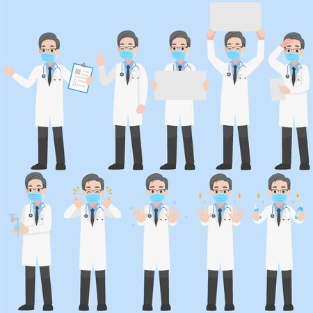 Set of Doctors  Character wearing protective Medical mask for prevent Corona Virus design in various action for prevent coronavirus Cartoon flat  Health care concept.