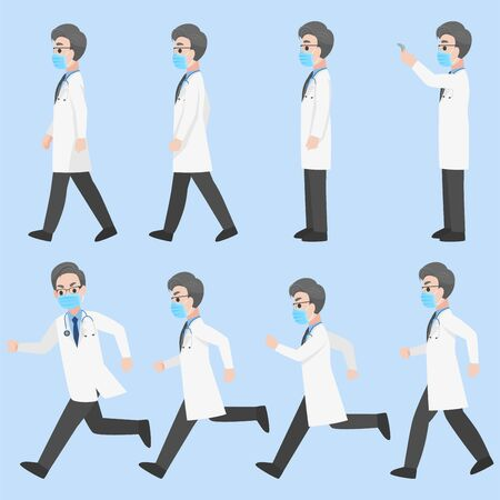 Set of Doctors  Character wearing protective Medical mask for prevent Corona Virus design in various action Cartoon flat  Health care concept.