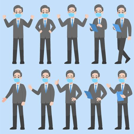 Set of Businessman Character wearing protective Medical mask for prevent Corona Virus design in various action Cartoon flat Business concept.