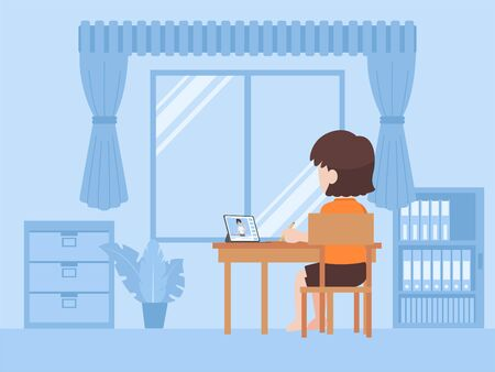 Little girl in new normal life learns lessons distance education at home self learning for prevent coronavirus, Distance Learning concept. Illustration