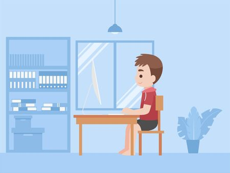Boy in new normal life learns lessons distance education at home self learning for prevent coronavirus Distance Learning concept.