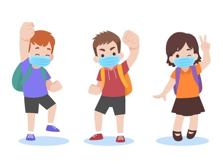 Set of children in new normal life wearing a surgical protective Medical mask for prevent coronavirus ready go to school, Back to school Health care concept.