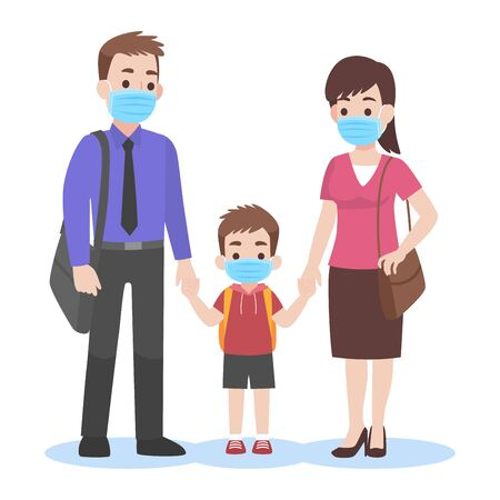 Parents take their children to the school wearing a surgical face mask for prevent Coronavirus back to school Health care concept.
