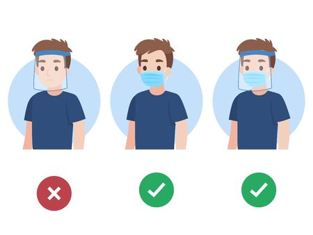 Set of Young Man wearing a surgical protective Medical face mask and face shield color speech bubble like do and don't infographic for prevent corona virus Health care concept.
