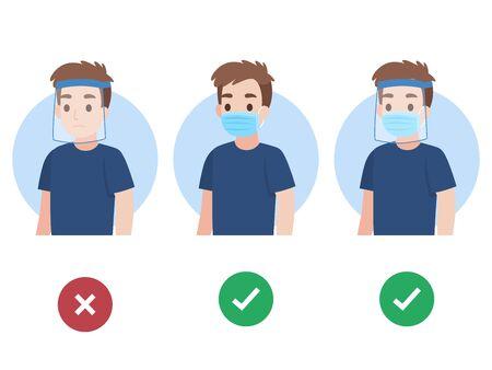 Ensemble de jeune homme portant un masque médical de protection chirurgical et une bulle de dialogue de couleur de bouclier facial comme faire et ne pas faire d'infographie pour prévenir le virus corona Concept de soins de santé.