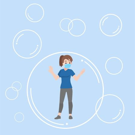 Young woman floating inside the bubble communicate and isolated form another keep social distance for prevent coronavirus, Health care concept.