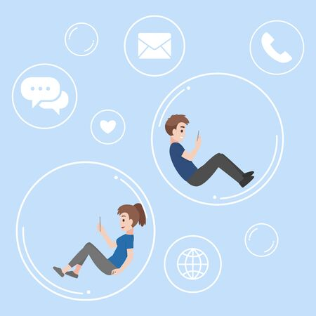 Young man and woman floating inside the bubble communicate and isolated keep social distance for prevent coronavirus Health care concept.