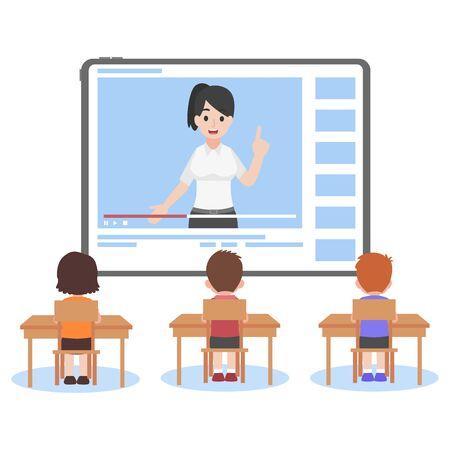 Online Teacher on Tablet monitor teaching education lesson for student on video blog social media webinar training, Distance Learning Television concept. Illustration