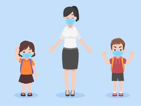 Set of children in new normal life wearing a face mask for prevent coronavirus, Back to school Health care concept.