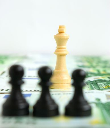 Struggle for authority among pawns and a queen on a background of money