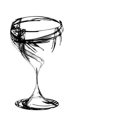 gestileerde wijnglas voor fout Stock Illustratie