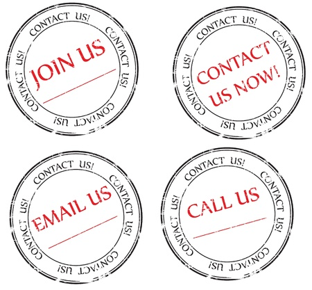 contact person: Set:  Contact us, Email us, Join us message on stamp