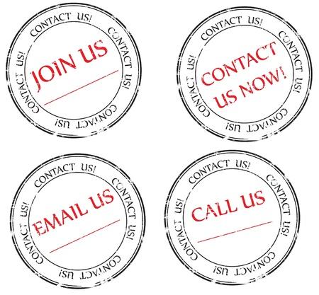Set: Kontaktieren Sie uns, uns eine E-Mail, kommen Sie mit uns Nachricht auf Briefmarke Standard-Bild - 9037607