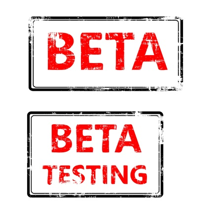 A stylized red stamp that shows the term beta testing. All on white background. Standard-Bild