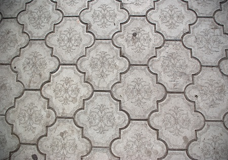 the Closeup of ceramic olden floor tile photo
