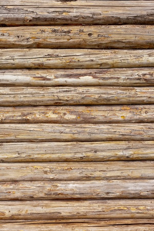 The Wooden logs wall of rural house background photo