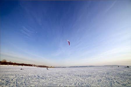 the Ski kiting on a frozen lake Stock Photo - 12746130