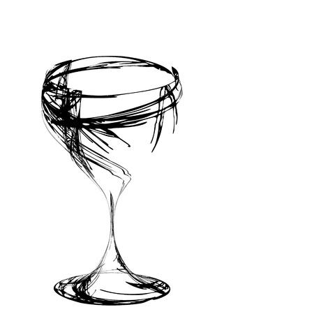 glas kunst: De mooie gestileerde wijn glas voor fout Stockfoto