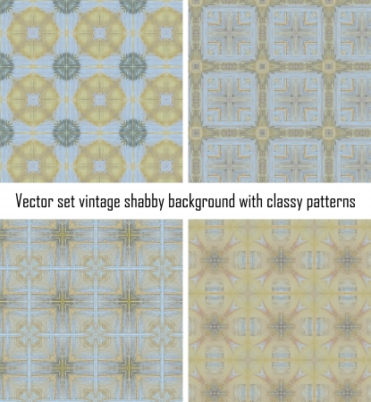 set seamless vintage delicate colored wallpaper  Geometric or floral pattern on paper texture in grunge style  Vector