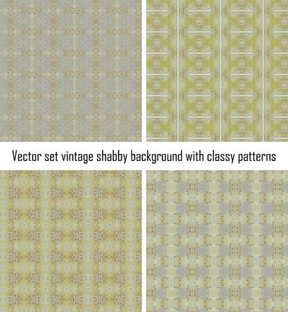 Vector set seamless vintage delicate colored wallpaper. Geometric or floral pattern on paper texture in grunge style. Vector