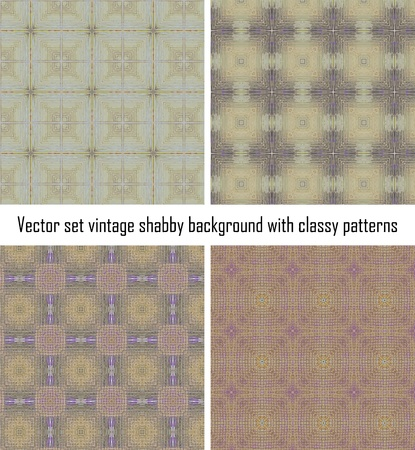 set seamless vintage delicate colored wallpaper Stock Vector - 16516851