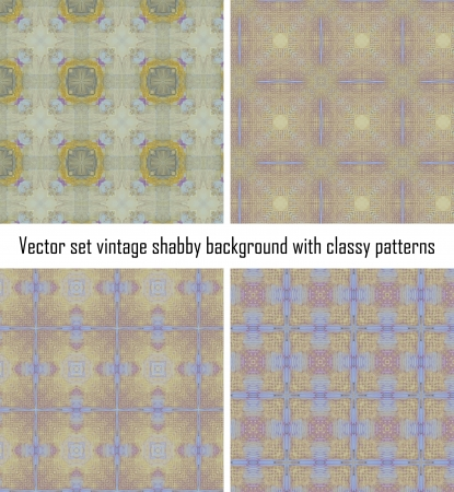 set seamless vintage delicate colored wallpaper Stock Vector - 16516850
