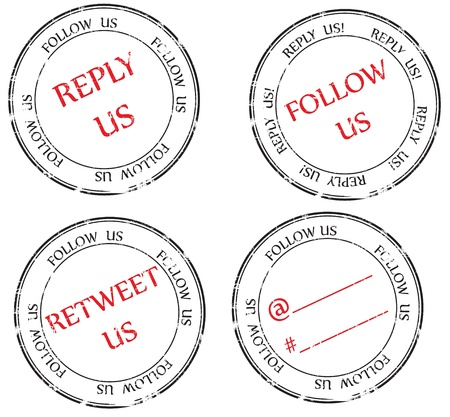 a set of stamps to Twitter  follow, reply, retweet Stock Vector - 16516842