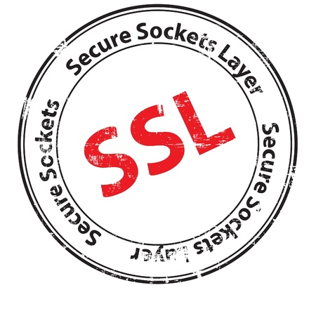 Online computer security ssl illustration with locked padlock