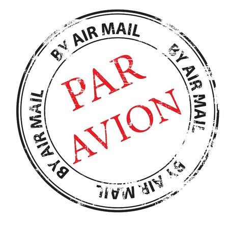 the par avion grunge stamp illustration Illustration