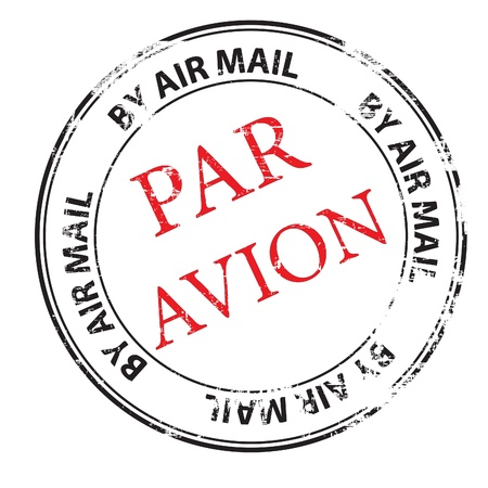 air mail: the par avion grunge stamp illustration Illustration