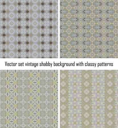 Vector set seamless vintage delicate colored wallpaper. Geometric or floral pattern on paper texture in grunge style. Stock Vector - 16554530